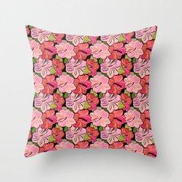Pink Hibiscus Floral Pattern Throw Pillow