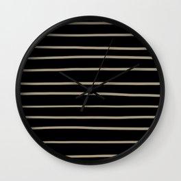 Pantone Twill Brown 16-1108 Hand Drawn Horizontal Lines on Black Wall Clock