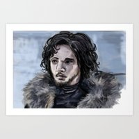 jon snow Art Prints featuring Jon Snow by amberandtigers