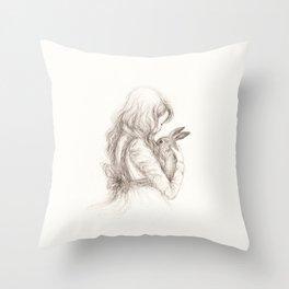 girl with rabbit Throw Pillow