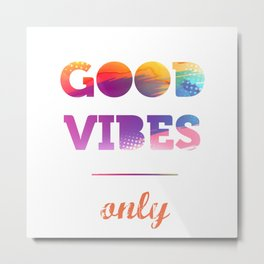 Good Vibes Only, watercolor, sticker, white circle Metal Print
