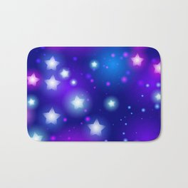 Milky Way Abstract pattern with neon stars on blue background Bath Mat