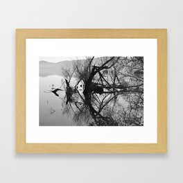Mirrored branches Framed Art Print