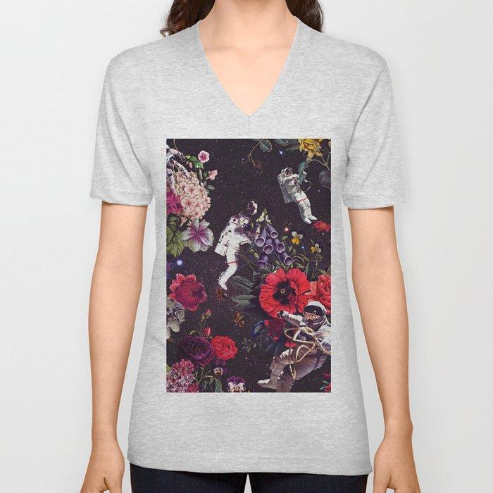 Flowers and Astronauts Unisex V-Ausschnitt