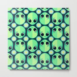 Sad Alien and Daisy Nineties Grunge Pattern Metal Print