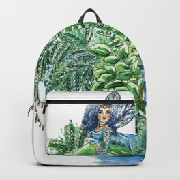 Small Blue Fairy On a Teapot House Backpack