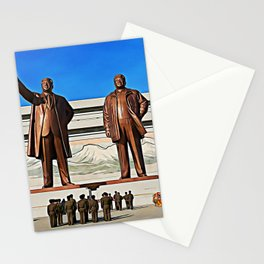 The Gods Of The North | Kim Il-sung And Kim Jong-il Oil Painting Stationery Cards