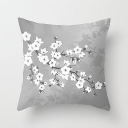 Only Gray Cherry Blossom Throw Pillow