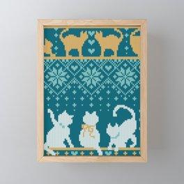 Fair Isle Knitting Cats Love // teal white and yellow kitties Framed Mini Art Print