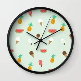 Summer Pattern cute ice creams, watermelon & pineapples Wall Clock