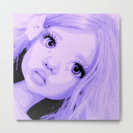 Lavender Big Eyes Little Girl African Metal Print