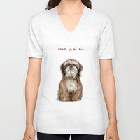 shih tzu V-neck T-shirts featuring Shih Tzu by Katherine Coulton