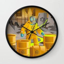 biohazard suit man with barrels near nuclear meltdown in powerplant Wall Clock