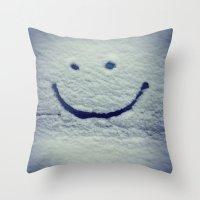 portlandia Throw Pillows featuring Snow Smile by Beth Ann Short