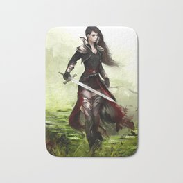 Lady knight - Warrior girl with sword concept art Bath Mat