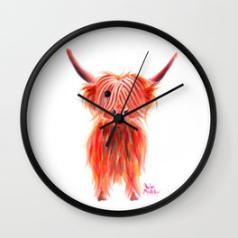 Scottish Highland Cow ' PEGGY ' by Shirley MacArthur Wall Clock