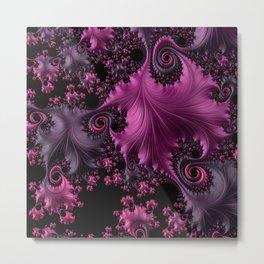 Pink Silk Fractal Leaves Metal Print