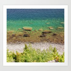 Stone shore on the lake in Canada Art Print
