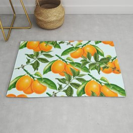 Cute Oranges Print on Blue Background Rug