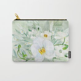White Orchid Series: Orchid and Eucalyptus Carry-All Pouch