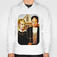 dwight schrute Hoodies featuring Dwight Schrute & Angela Martin (The Office: American Gothic) by Silvio Ledbetter