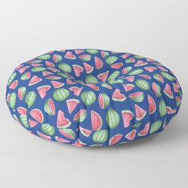 Watermelon Pattern, Blue Background Floor Pillow