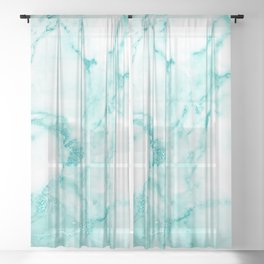 Teal Mermaid Glitter Marble Sheer Curtain