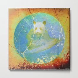Panda in the mist Metal Print
