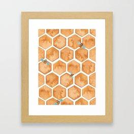 Honey Bee Hexagons Framed Art Print