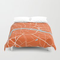 london map Duvet Covers featuring London Map by Studio Tesouro
