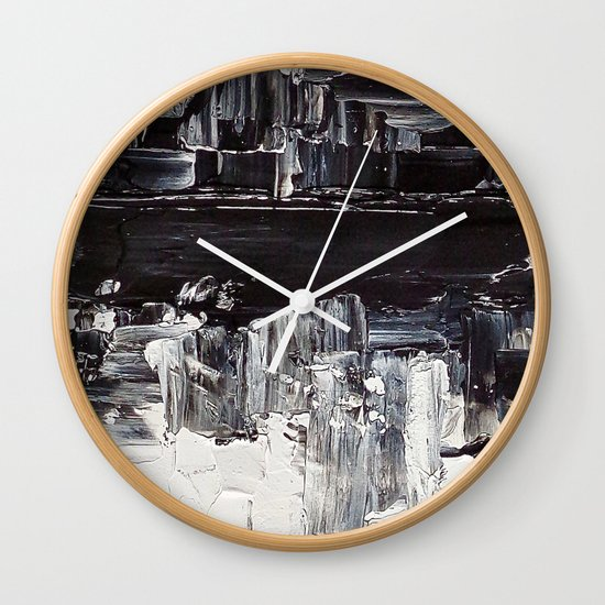 Flatline - black & white abstract painting Wall Clock