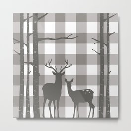 Deer & Birch Grey Plaid Metal Print