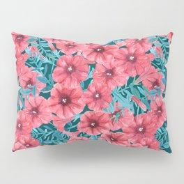 Red watercolor petunia flower pattern Pillow Sham