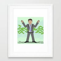 wolf of wall street Framed Art Prints featuring The Wolf of Wall Street by Joe Bidmead
