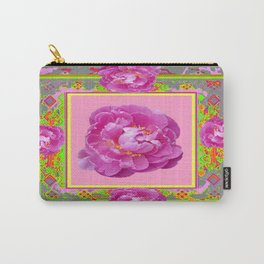 Exotic Pink Peony in a  Grey, Chartreuse, & Pink Pattered Abstract Carry-All Pouch