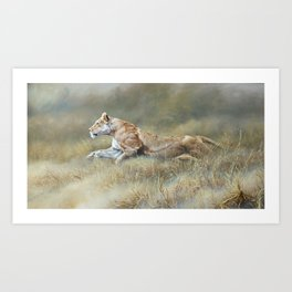 On Target - Lioness by Alan M Hunt Art Print