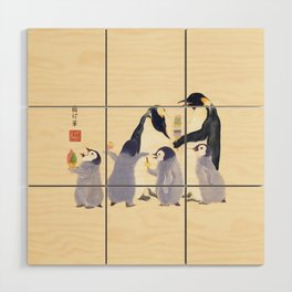 Emperor Penguin Family in the summer of Japan Wood Wall Art