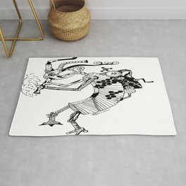 Steampunk Kokopelli Original Pen and Ink Design Rug