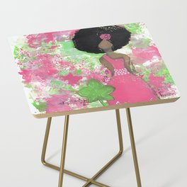 Dripping Pink and Green Angel Side Table