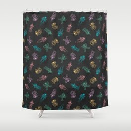 Cosmic Stranger Pattern in Neon Shower Curtain