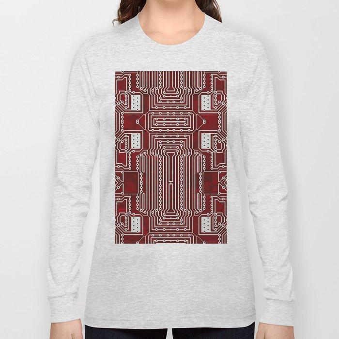 Red Geek Motherboard Circuit Pattern Long Sleeve T-shirt