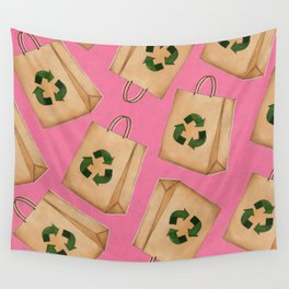 Reduce Reuse Recycle (Pink Bg) Wall Tapestry