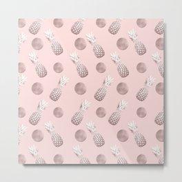 Pineapple Pattern with Happy Polka Dots #1 #decor #art #society6 Metal Print