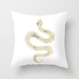 Snake Skeleton – Gold Throw Pillow