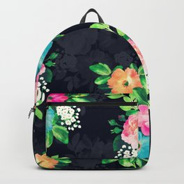 Watercolor Vintage Roses Floral Dark Blue Design Backpack