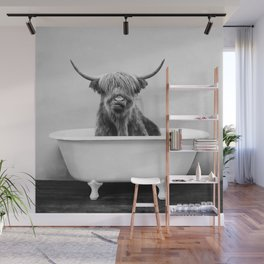 Highland Cow in a Vintage Bathtub (bw) Wall Mural