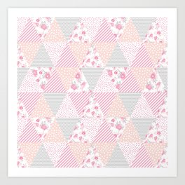 Pink soft flowers triangle quilt pattern print for home decor nursery craft room Art Print
