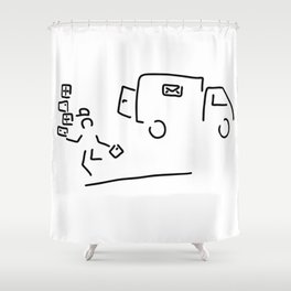 package messenger cure post package service Shower Curtain