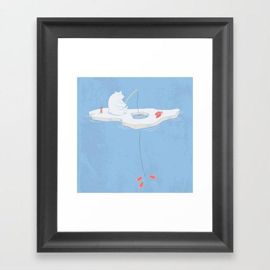 Gone Ice Fishin' Framed Art Print