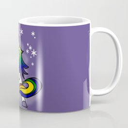Flossing Rainbow Unicorn with Starry Background Coffee Mug